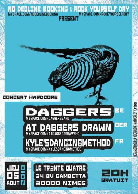 Daggers + At Daggers Drawn + Kyle's Dancing Method @ Nîmes